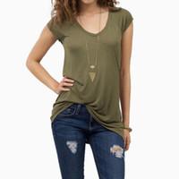 Camiseta MISSKY Mulheres tshirt V Collar cor sólida manga curta Sexy Magro Tops Pullover para Tops femininos de verão
