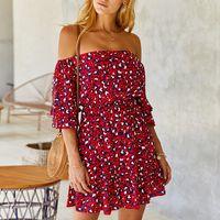 Abiti donne Slash collo manica corta estate del vestito leopardato elegante temperamento modo del pannello esterno sexy del mini Dresse S-XL