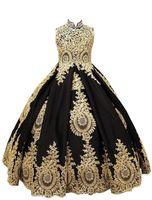 2019 Prinzessin Ballkleid Blumenmädchenkleider Stehkragen Korsett Goldapplikationen Schwarz Tüll Mädchen Festzug Kleid Erstkommunion Kleider