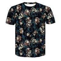 Skulls Fashion T-Shirt Mens Tshirt Short Sleeve Shirt Funny Print Many Skull Flowers New Size 2XS-4XL