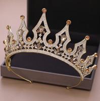 Lüks Kristaller Düğün Taç Gümüş Altın Rhinestone Prenses Kraliçe Gelin Tiara Taç Saç Aksesuarları Ucuz Yüksek Kalite