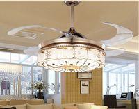 Ventilateurs de plafond invisibles Salon Télécommande Télécommande Ventilateur Éclairage Chambre Simple Moderne Ceinture Rétractable LED Mute Ventilateur Électrique Chandeliers