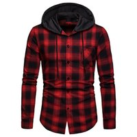 good quality Men Shirt Long Sleeve Plaid Mens Clothing Fashi...