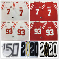 2020 NCAA Nebraska Cornhuskers College Football # 93 Ndamukong Suh Jerseys Casa Away Red Bianco Mens Cucito # 7 Scott Frost 150th Jersey