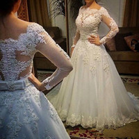 2019 White Elegant Wedding Dresses Long Illusion Sleeves Bridal Gowns With Applique Beaded Back Zipper Custom Made Wedding Gowns New Style