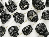 Цена промотировании смешанного типа смешанного размера Готического Череп Кольцо мужское Черный череп кольцо Панк Кольцо для мужчин сек ювелирных изделий способа налива