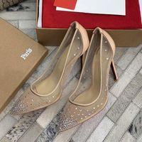 Parte inferior roja tacones altos Rete estilo de malla punta estrecha pedrería Crystal bling plata dorada bombas mujeres tacones fiesta zapatos de boda