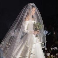Velos nupciales calientes con peine 2 capas en stock Accesorios de boda de tul suave Blanco Velo alta calidad para novia Largos velos baratos