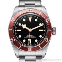 Venta caliente Reloj Acero inoxidable Movimiento mecánico automático Rojo Bisel Dial negro Sólido Broche Relojes de pulsera para hombres.