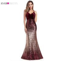 Ever Pretty Sequined Evening Dresses Mermaid Spaghetti Strap...