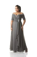 Hot Plus Size Cinza Mãe da Noiva Vestidos do Ombro Barato Chiffon Prom Party Vestidos Longos Mãe Noivos Vestidos de Desgaste