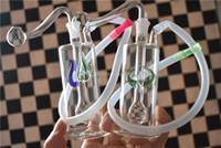 Mini colorido plataforma petrolífera interior flor Bong pipa de narguile pipas de fumar tabaco del filtro de agua del tubo de agua con un recipiente de vidrio y la manguera de fumadores