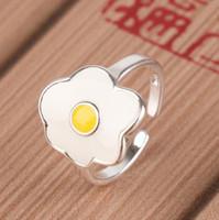 Cartoon emaille glazuur voedsel omelet portemonnee eieren open ring voor meisjes dames fashion statement sieraden grappige kip ringen