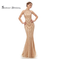 2019 Luxury Champagne Sheath Long Beads Evening Dresses Sexy...