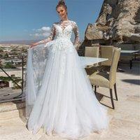 جوهرة الأكمام الطويلة يزين الرباط ألف خط فساتين زفاف 2020 متواضعة ضمادة العودة أثواب الزفاف الرسمي Vestidos دي Mariee