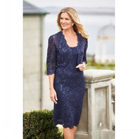 Vintage Navy Blue Mother Of The Bride Dresses With Lace Jack...