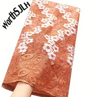 Aso Ebi African Fabric Lace Material Orange Nigerian Tulle N...