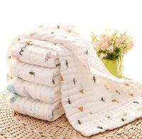 Toalha 3pcs Bebê recém-nascido Praça babadores Crianças 6 camadas de lavagem gaze lenço de algodão toalha Limpe Pano Enrole da criança babadores