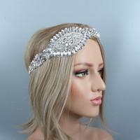 Silber Kristall Edelstein Braut Stirnband UK High-End Luxus Braut Strass Krone Haarschmuck Haarspangen mit Perlen