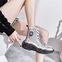 2020 ALLBITEFO natürliche echtes Leder Frenulum Ankle-Boots Gürtelschnalle Frauen Stiefel einfache Art und weise Herbst-Winter