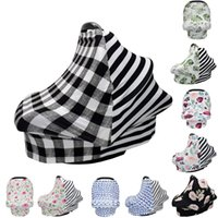 Baby Canopy Car Seat Cover 26styles INS Floral Stretchy Cotton Baby Nursing Cover Feeding Stroller Cover Infant Scarf Blanket GGA3496-4