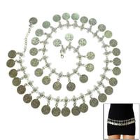 Catena nuovo argento metallo placcato ciondola Hippie di Boho Fiore turco Bohemian Shimmy Cintura Danza del ventre corpo Coin @ 88