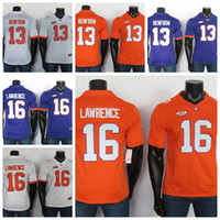 NCAA College Football Jersey Stitched Trevor Lawrence Renfrow Clemson Tigers Jerseys White Purple Orange 150TH Patch
