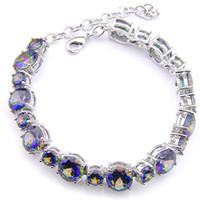 6 Sztuk Luckyshi Moda Biżuteria Okrągły Rainbow Blue Mystic Topaz Gemstone 925 Posrebrzane Cyrkon Bransoletki Bransoletki Bransoletka Wakacje Prezent