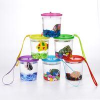 Betta 컵 해파리 컵 Betta 어항 플라스틱 어항 소형 작은 투명한 플라스틱 뚜껑 컵 어항