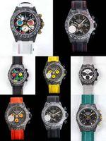 8 estilos DIW Reloj personalizado Custom Fibra de carbono Mensos de lujo 116500ln 116506 116519 7750 Movimiento Woking Chronograph Mens Reloj de pulsera automática