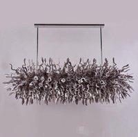 Dernières Jolie en verre de Murano Art Pendant Light LED Hôtel Bureau en verre soufflé à la bouche Lustre Éclairage Gris et Blanc Couleur