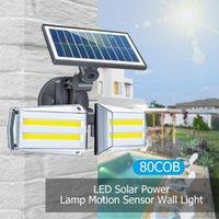 회전 가능한 전자 레인지 LED 태양 조명 듀얼 헤드 가든에 대 한 듀얼 헤드 태양 벽 빛 야외 벽 램프 IP65 PIR 모션 센서 태양 램프