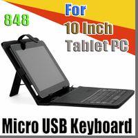 848 OEM 검은 색 가죽 케이스 마이크로 USB 인터페이스 키보드 10 인치 중반 태블릿 PC C-JP