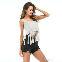 Мода вязаный жилет с кисточкой выдалбливают без рукавов блузки женские топы летние рубашки майки