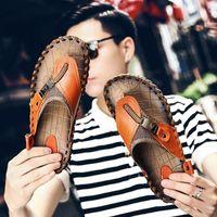 Zapatillas Jichi Cuero genuino Verano Hombres Sandalias Playa Confort Zapatos Casuales Moda Flip Flops Drop