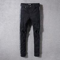 Erkek Delik Yan Şerit Sıska Siyah Kot Tasarımcı Sıkıntılı Rozet Slim Fit Motosiklet Biker Dilenci Hip Hop Yırtık Kot Pantolon 5332