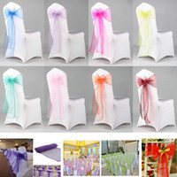 Organza Chair Sash Bow For Cover Banquet Wedding Party Event Chrismas Decoration Sheer Organza Fabric Chair Covers Sashes 18*275cm HH7-2051