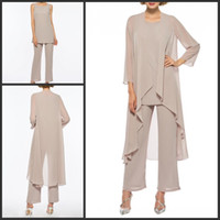 Mother of the Bride Pant Suits Plus Size with Long Jacket Ch...