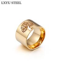Новый 316L нержавеющая сталь дерево жизни кольца для женщин Клевер кольца шаблон палец кольца девушка роскошные партии / свадебные украшения