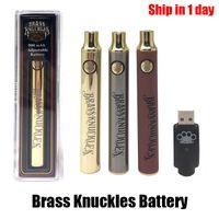 Pirinç Knuckles Pil 900 mAh Ahşap Altın Gümüş Ayarlanabilir Gerilim Vape Kalem Önceeating BK Fit 510 Konu Kartuş