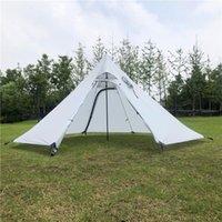 Ultraléger 3-4 Personne extérieure Tente Pyramide Pare-soleil Abri imperméable w / Stovepipe trou pour la pêche Camping Plage Backpacking