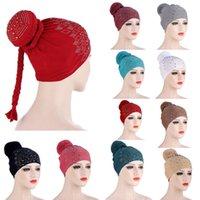 Bonnet / Crânes Caps Casquettes Musulman Femmes Bonneyes Crullies Strass Knot Baisse Bonnet Turban Cheveux Perte de cheveux Chapeau Chemin Cancer Bandanas Arabo Headwra islamique