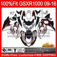 Inyección para SUZUKI GSXR 1000 GSXR-1000 09 10 11 2009 2010 2011 16HC.104 K9 GSXR1000 12 13 15 16 2012 2014 2015 2016 Carenados rojo plateado