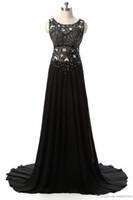 Schwarze Abendkleider lange eine Linie Übersehen Durch Perlen Chiffon Sweep Zug Formale Party Prom Kleider 2018 Für Frauen JMC55