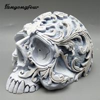 résine 3D moule de fondant au moule en silicone de motif de crâne plâtre chocolat bonbons bougie moule T191018 envoi gratuit