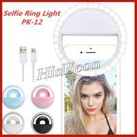 범용 Selfie LED 링 라이트 PK-12 라이트 플래시 램프 카메라 사진 USB 충전 아이폰 삼성 화웨이 + 소매 상자