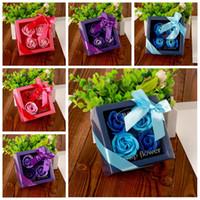Día de la madre Flor de jabón Caja creativa de alto grado con rosas artificiales Cumpleaños romántico Regalo de día de San Valentín Flores de boda DBC DH1282