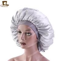 新しい女性ビッグサイズの美しさプリントサテンシルクボンネット睡眠ナイトキャップヘッドカバーボンネット帽子