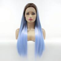 Synthetic Wigs Ombre Party pour Femmes Long Silky Droit Dark Racines Bleu Perruque Bleu Perruques Dentelle Avant Résistant à la chaleur Fibre cheveux