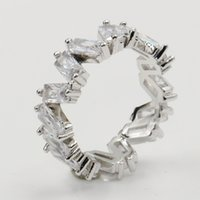 Victoria Wieck Modeschmuck 925 Sterling Silber Irregularity Princess Cut Weiß Topaz CZ-Diamant-Partei Versprechen Frauen Wedding Band Ring